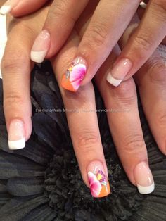White tip French manicure accent nail orange tip with pink & white 1 / one stroke technique flowers free hand nail art