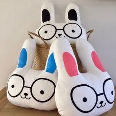 Bunny With Glasses Cushion  #oliverthomas #foxandmoon #bunny #rabbit #cushion #nursery #kidsroom #kidsinteriors #nurseryinspo
