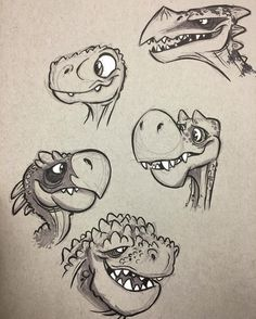 #dinosaurs or #dragons #cartoon #creaturedesign #characterdesign #animation #brushpen #breaksketch #monsters #folklore by ericscales13
