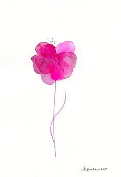"""Original watercolor flower painting: """"Magenta Flower"""" by KarenFaulknerStudio on Etsy"""