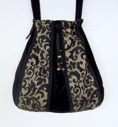 Messenger Gypsy Bohemian Bag Victorian Tapestry Black Velvet Bag  Beads  large bag  large purse gypsy bag boho bag. $58.00, via Etsy.