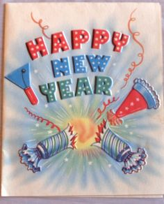 Vintage Happy New Year 1940s greeting card, DA Line, colorful graphics