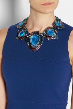 Lanvin|Santa Barbara gunmetal-tone crystal necklace|NET-A-PORTER.COM