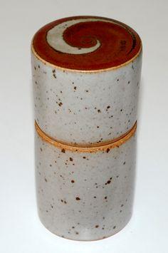 Jacob Bang, lidded vase in stoneware, own studio Denmark. W: 6. H: 12,5 cm.