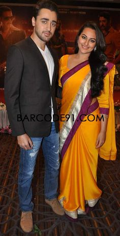 http://www.barcode91.com/  Sonakshi Sinha looking graceful in a tango saree with co-actor Imran Khan on the set of CID to promote OUATIMA