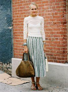 simple long-sleeve t-shirt and midi skirt