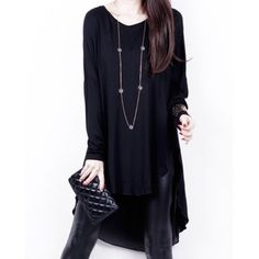 Stylish V-Neck Long Sleeves Solid Color Asymmetric T-Shirt For Women