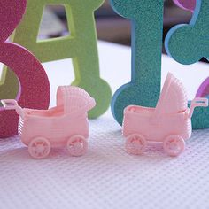 12 Pink Stroller Wagon Favors Baby Shower Party Decoration Vintage Style Gift