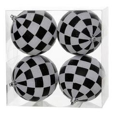 Vickerman 4 BlackWhite Check Glitter Ball Ornament 4 per Box -- You can get more details by clicking on the image.