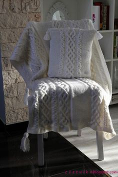Very pretty!!  Cabled warm blanket & Pillow | c v e t u l k a knits