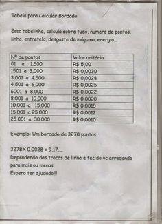 Tabela de Preços de Bordados ~ Macramé e Bordados - Bordados Computadorizados, Macramé em Toalhas, Matrizes para Bordados Grátis