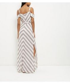Rust Stripe Cold Shoulder Maxi Dress  | New Look