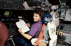 Feb. 3 1995 Astronaut Eileen Collins at the Pilot's Station on Shuttle Discovery #NASA Image of the day #photograhpy #photooftheday