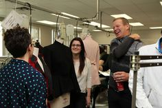 They're not just talented with design, they're also great networkers. Fashion students chatting with Chip Wilson during his visit to Kwantlen.