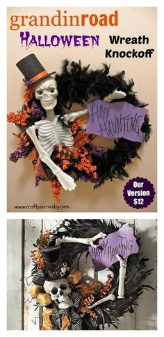 Grandinroad Halloween Wreath Knock Off with supplies from Dollar Tree and .99 Store