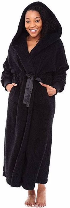 Alexander Del Rossa Women's Warm Fleece Robe with Hood, Long Plush Bathrobe Swimsuit Cover Ups, Swimsuits, Lingerie, Clothes For Women, Cuffs, Plush, Black, Dresses, Warm