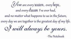 Probably one of the sweetest quotes I have ever read <3  - THE NOTEBOOK