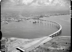 Building the Coronado/ San Diego bridge Coronado, California Coronado San Diego, Coronado Bridge, San Diego Area, Chula Vista, Vintage California, Plaza, Golden State, Old Photos, Fun Facts