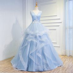 Fairytale Sky Blue Tulle V Neck Wedding Dresses,Appliques Sleeveless Laced up Back Tiered Bridal Gowns
