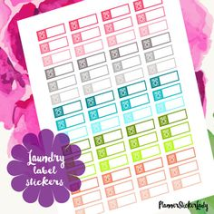 60pcs Laundry Label Stickers by PlannerStickerLady on Etsy