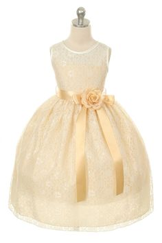 My favorite so far!  Would match the lace on my dress.    MB_272CH - Flower Girl Dress Style 272 - Sleeveless Lace Dress with Floral Detail - Southern Belle - Flower Girl Dress For Less