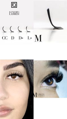 WHAT ARE M-CURL LASHES? The base of M lashes is straight, but not too long, and finishes in a strong curve without a kink at the transition. In contrast to eyelashes like L or L +, M has a nice smooth transition. Because of its dramatic, but not over curled, bend, it creates a beautiful lifting effect. By following a few simple steps, it isn't difficult to work with M-Curl eyelash extensions. There are a few things you should consider if you want to achieve the perfect, flawless result. #la Curl Lashes, Curling Eyelashes, Volume Lashes, False Eyelashes, Volume Lash Extensions, Eyelash Extensions, Strong Curves, Hooded Eyes, Eye Shapes