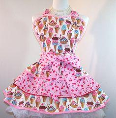 Retro Apron, Ice Cream, Pin Up Style, Triple Layer Full Skirt. $50.00, via Etsy.