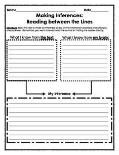 Graphic Organizer: Making Inferences - 1 graphic organizer. Directions: Read the text to make an inference based on the information provided and what you already know. Remember, you want to reveal what the author isn't telling the reader directly. Featured in black and white and color.