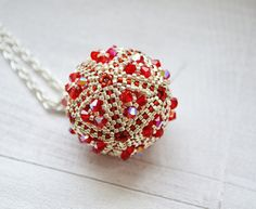 Ball crystals large pendant small beads AB shining by SzkatulkaAmi
