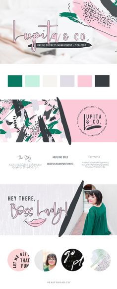 brand board for lupita & co online business management & strategy, virtual assistant, luxury branding and web design for female entrepreneurs. feminine branding, brand style guide, logo design, submark, brand elements, bright pastel color palette,  feminine brand design, Inspiration of typography, script font, sans serif, mint, lilac, business owner, feminine business. See more for mood board, social media branding, print materials.