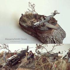 """Messerschmitt Down"" diorama. Master modeler Alexander ter Meulen #scalemodel #plastimodelismo #miniatura #maqueta #maquette #modelismo #plastickits #usinadoskits #udk #miniatur #miniature #plasticmodel #plastimodelo"