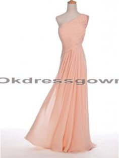 One shoulder long peach prom dress