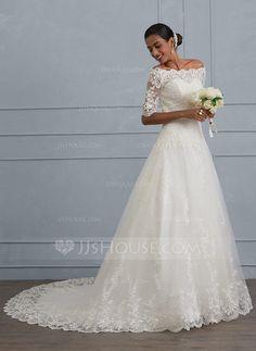 [Kr 2 742] Balklänning Off-shoulder Court släp Tyll Spets Bröllopsklänning med Beading Paljetter
