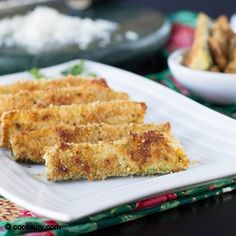 Baked Zucchini Fritters | Cooks Joy - serves 4-5, 400 for 25 mins. zucchini - as needed - I cut about 25 sticks (each 3- 4 inches long) breadcrumbs - 1 cup parmesan cheese - 1/2 cup salt - to taste pepper - to taste eggs - just the white portion of the egg