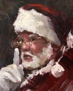 "Santa Claus Painting, Santa , 8"" x 10"", oil painting on mounted canvas. , via Etsy."