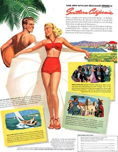 1947 Southern California Vacation ad with Pin Up Style Illustration - Wall Art - Home Decor - SoCal - Retro Vintage Travel Advertising California Vacation, California Love, Southern California, California Living, Central California, Vintage California, Southern Style, Vintage Advertisements, Vintage Ads