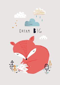 Ansichtkaart Vosje dream big bosdieren kaartje ansichtkaart postkaart pastel kleuren wolken wolkjes kinderkaartje