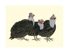Guinea fowl bird art  4 for 3 SALE Geraldine by matouenpeluche, $7.00
