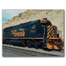 Shop Denver and Rio Grande Western, EMD Postcard created by transports. Rio Grande, Denver, Train Art, Rail Car, Train Pictures, Train Engines, Diesel Locomotive, Train Tracks, Model Trains