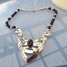 Vintage Carol Felley CDF 1989 Onyx Sterling Native American Necklace!