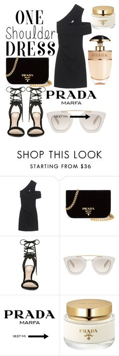 """One Shoulder Dress "" by carlee-renee ❤ liked on Polyvore featuring Dsquared2, Prada and ALDO"