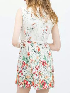 Multicolor Floral Print Round Neck A-line Dress   abaday