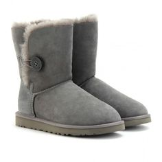 UGG Australia Bailey Button Boots (235 CAD) ❤ liked on Polyvore featuring shoes, boots, uggs, botas, zapatos, grey, grey shoes, ugg australia, ugg® australia shoes and button shoes