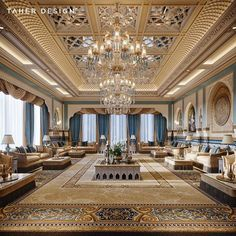 Formal Oriental Majlis by Taher Design Studio for a villa in Abu Dhabi, Taher Design Studio. All Rights Reserved . Palace Interior, Mansion Interior, Luxury Homes Interior, Luxury Home Decor, Interior Exterior, Hall Interior, Arabian Decor, House Outside Design, Luxury Homes Dream Houses