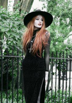 Olivia Emily wears Killstar Witch Brim Hat, Black Milk Burned Velvet Reaper Dress over American Apparel Mesh Long Sleeve Dress, and Underground Shoe Jungle Boots Alternative Outfits, Alternative Mode, Alternative Fashion, Goth Aesthetic, Aesthetic Fashion, Dark Fashion, Gothic Fashion, Modern Witch Fashion, Darkness Girl