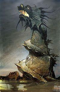 """Dragon_Lighthouse"" by Daniel Dociu Concept Art Gallery, Lighthouse Art, Fantasy Art Landscapes, Guild Wars, Fantasy World, Faeries, Mythology, Beast, The Incredibles"