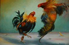 LES COQS (Peinture), 30x40 cm par YVETTE MATYSIAK DEUX COQS FACE A FACE SUR UN GALLODROME DES FLANDRES