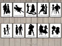 Disney Couple Cards Silhouette tabel cards por SophiesLoveBirds