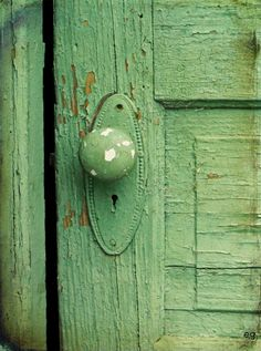 Love the old green paint on this farmhouse door!