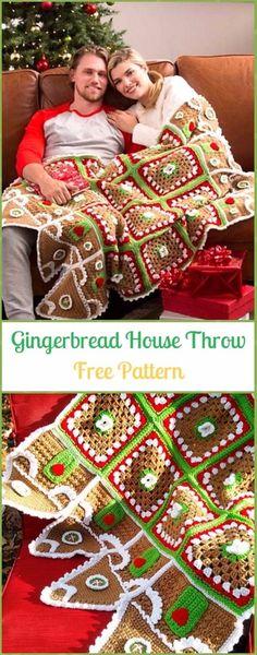 Crochet Gingerbread House Throw BlanketFree Pattern - Crochet Christmas Blanket Free Patterns